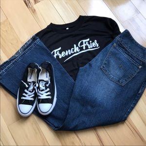 Silver released hem unique boot cut jeans.